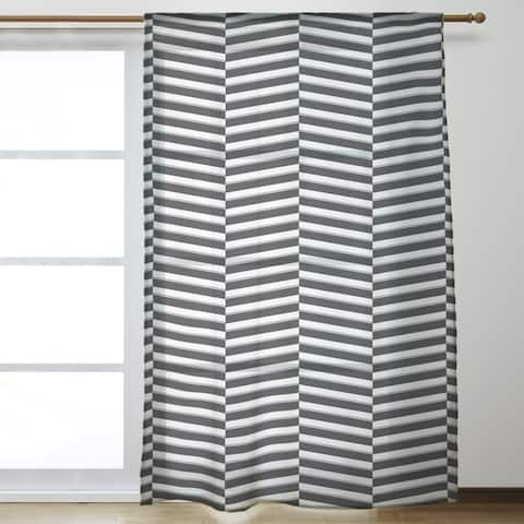 Two Color Fractured Stripes Sheer Curtains - 53 x 84 - 53 x 84