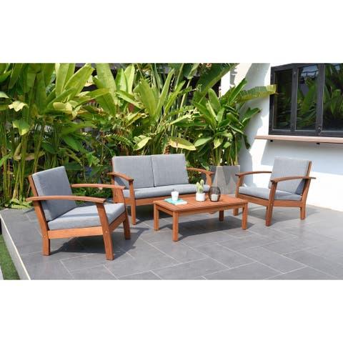Havenside Home 100% FSC Wood Conversation Living Room Set