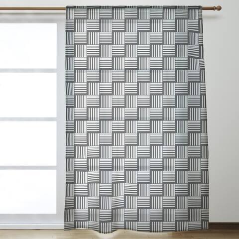 Black Contrast Basketweave Stripes Sheer Curtains - 53 x 84 - 53 x 84