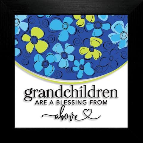 "Grandchildren Are Suncatcher Glass Plaque Frame 10""x10"""