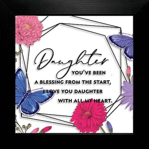 "Daughter You've Been Suncatcher Glass Plaque Frame 10""x10"""