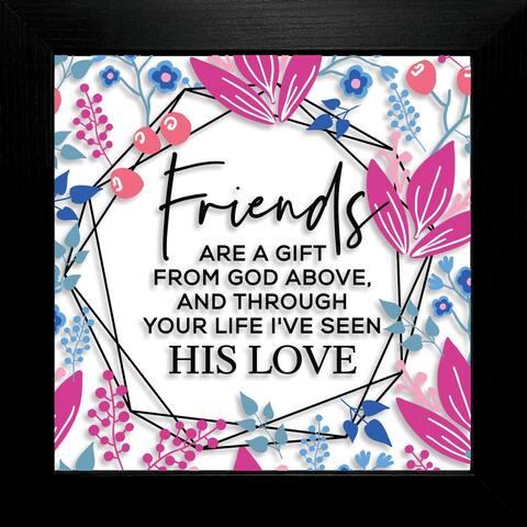 "Friends Are A Gift Suncatcher Glass Plaque Frame 10""x10"""