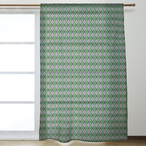 Classic Lined Diamonds Sheer Curtains - 53 x 84