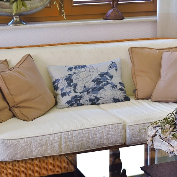 Peonies and Butterfly Lumbar Pillow