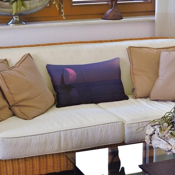 Moon and Sailboat Lumbar Pillow