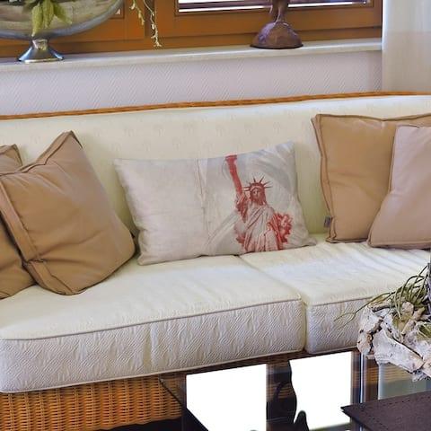 Watercolor Statue of Liberty Lumbar Pillow
