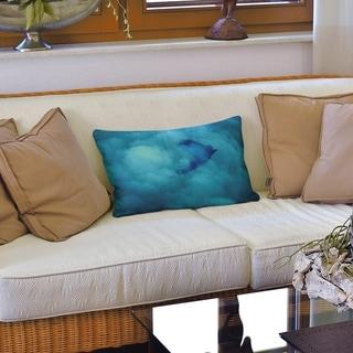 Watercolor Bird and Sky Lumbar Pillow