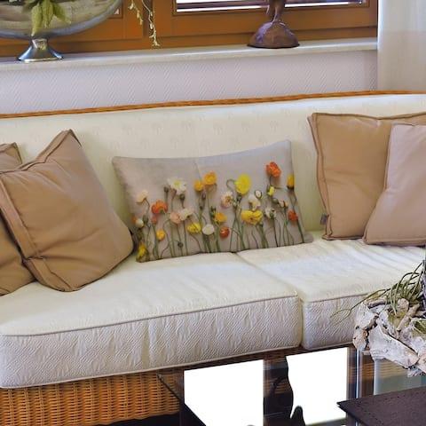 Dried Flowers Lumbar Pillow