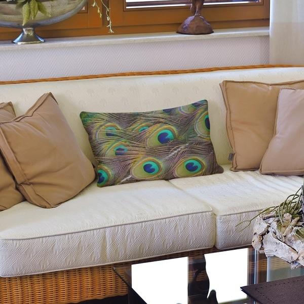 Peacock Feathers Lumbar Pillow