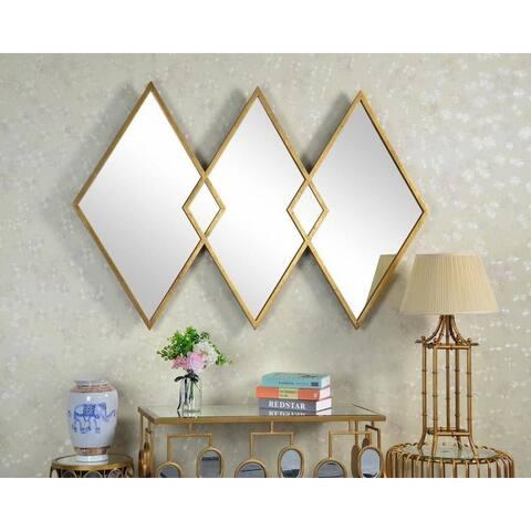 West Elm Style Diamond Gold Metal Wall Mirror