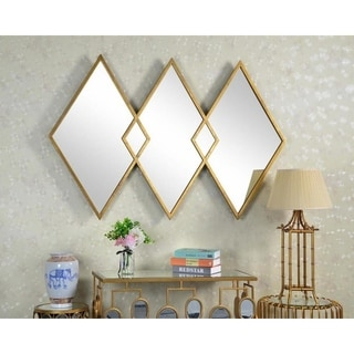 West Elm Style Diamond Gold Metal Wall Mirror