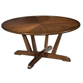 Round Solid Wood Coffee Table - Mid Century Modern