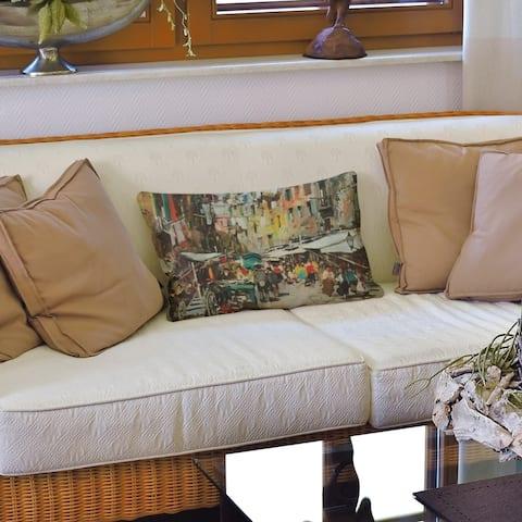 Market in Naples Lumbar Pillow