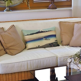Tama River in Musashi Province Lumbar Pillow