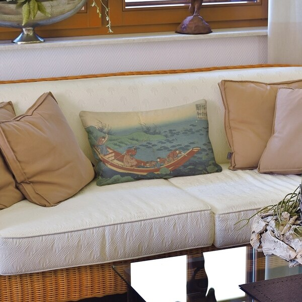 Boat Among the Lily Pads Lumbar Pillow
