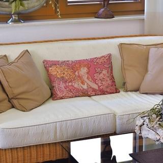 Woman Among Flowers Lumbar Pillow