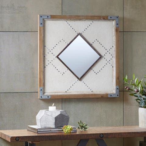 """INK and IVY Bexley Brown/Tan Decor Mirror - Brown - 24.02""""L x 24.02""""W x 1.38""""H"""