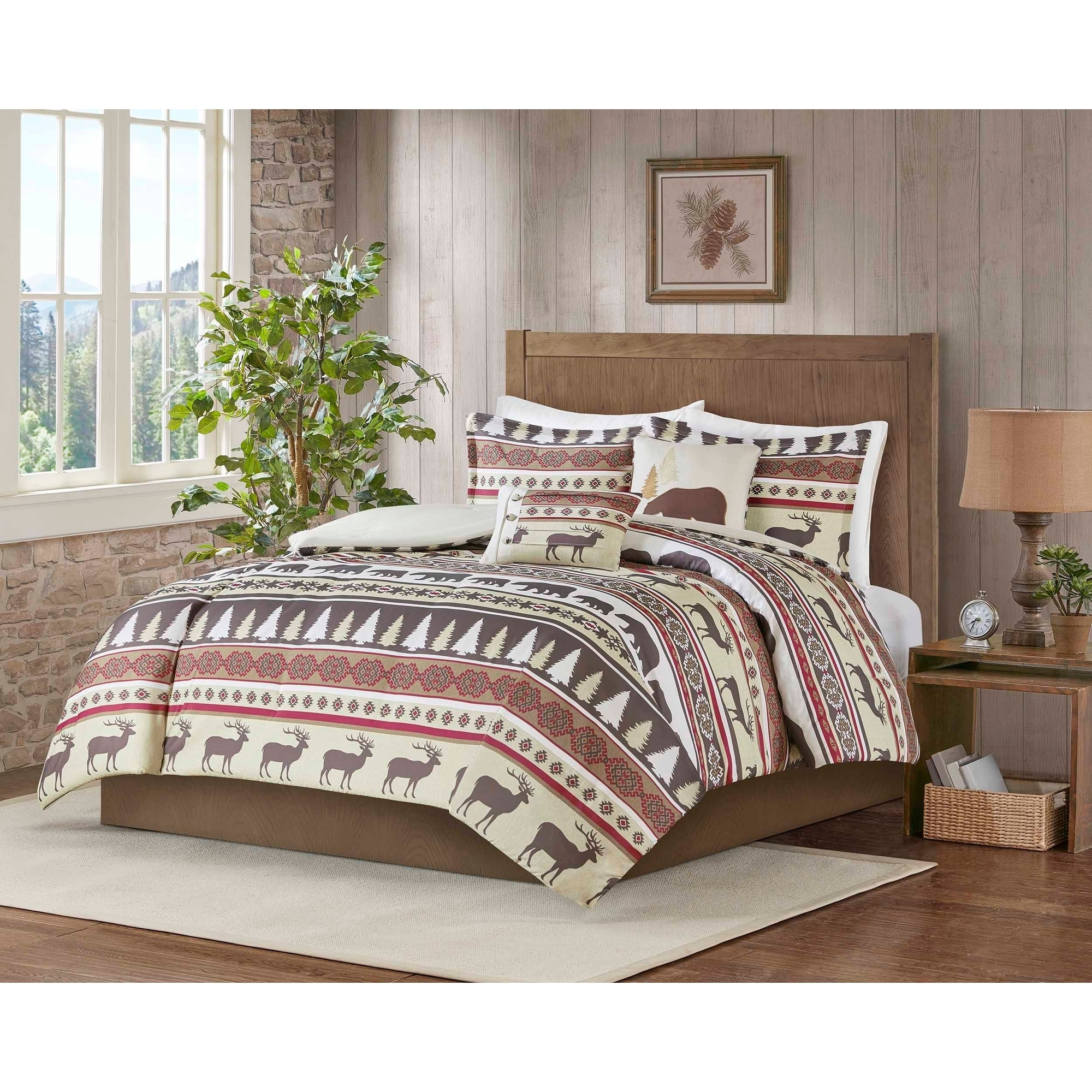 Christmas Comforter.Carbon Loft 5 Piece Rustic Lodge Cabin Christmas Comforter Set