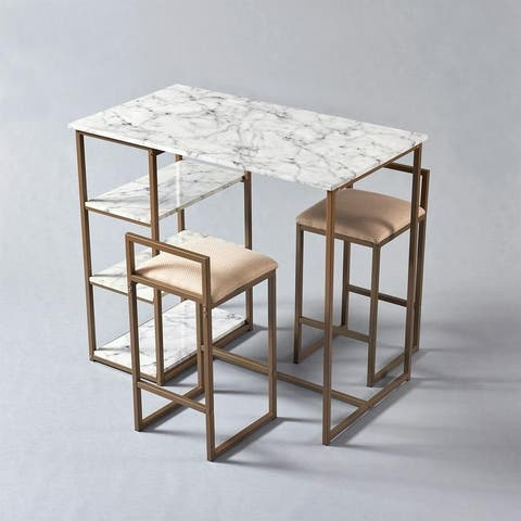 Versanora Marmo Breakfast Table Dining Set with Faux Marble Top, Brass Finish