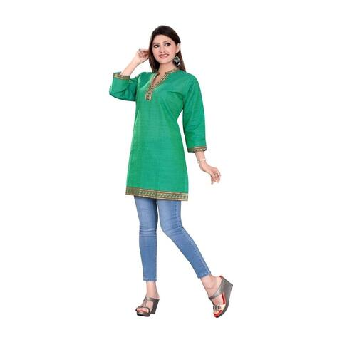 Sea Green 3/4 sleeve Indian Cotton Kurti/Tunic with Golden neckline