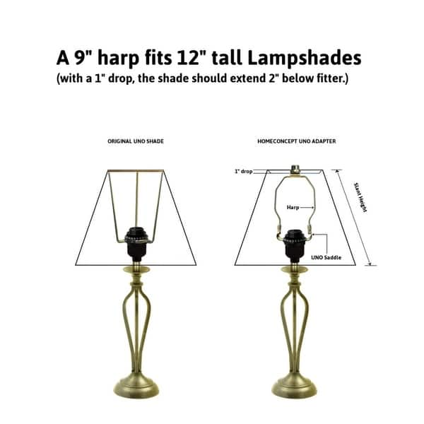 Slip Uno Adapter Converts Your 12 High Lampshade To Fit On Slip Uno Lamp Base 1 7 16 Opening 9 H Overstock 28384815
