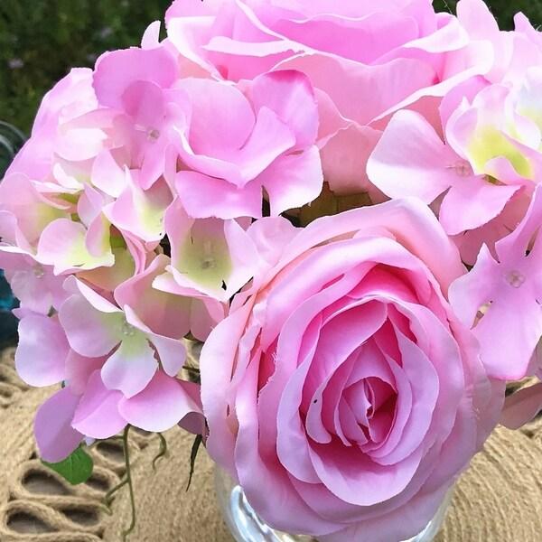 Floral Decor Home Garden Pink Open Rose And Hydrangea Silk Flower Arrangement In Clear Glass Vase Topografiapv Cl