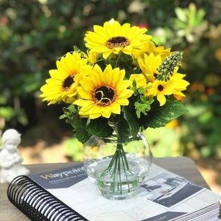 Enova Home Mixed Sunflower Silk Flower in Clear Glass Vase - Yellow