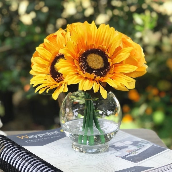Enova Home Sunflower and Rose Mixed Silk Flower in Clear Glass Vase - Orange