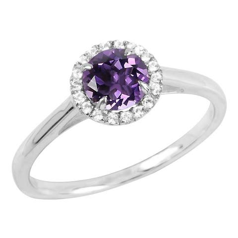 Sterling Silver Round Gemstone and Lab-Created White Sapphire Halo Ring