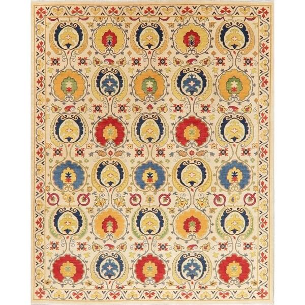 "Kazak Oriental Hand Knotted Wool Pakistani Area Rug - 9'10"" x 8'2"""