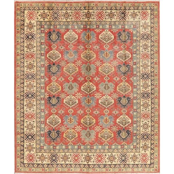 "Kazak Oriental Hand Knotted Wool Pakistani Area Rug - 9'9"" x 8'2"""