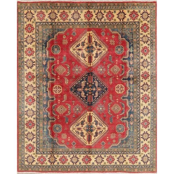 "Kazak Diamond Oriental Hand Knotted Wool Pakistani Area Rug - 9'8"" x 8'1"""