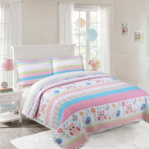 Porch & Den Dutton Bird and Stripe Kids Quilt Set