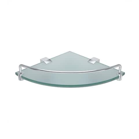 Eviva Rim Tempered Glass Corner Shelf with Rail