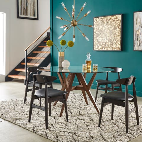 Sheeba Round Mid-Century Modern Walnut 5-piece Dining Set by iNSPIRE Q Modern