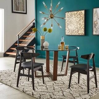 Sheeba Round Angled Walnut 5-piece Dining Set by iNSPIRE Q Modern