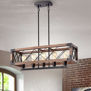 Link to Aurora Antique Black Rectangular Metal and Natural Wood Chandelier Similar Items in Chandeliers