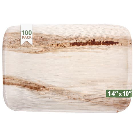 CaterEco Rectangle Areca Tray Set (100 Pieces Pack)