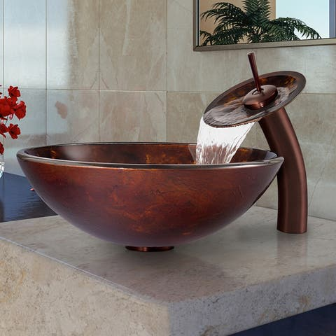 VIGO Brown and Gold Vessel Bathroom Sink and Waterfall Faucet Set (As Is Item)