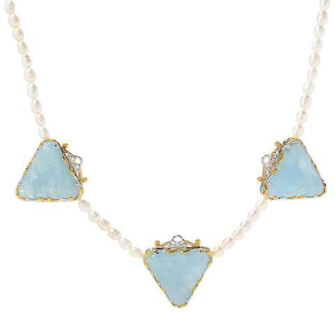 Gems en Vogue Palladium Silver Trillion Aquamarine & Freshwater Cultured Pearl 3-Stone Necklace