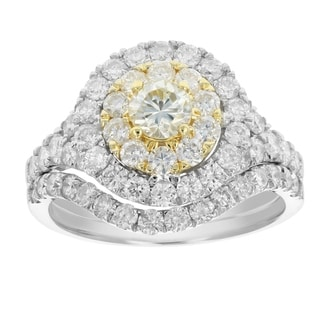 2 Cttw Diamond Wedding Engagement Ring 14K Two Tone Gold