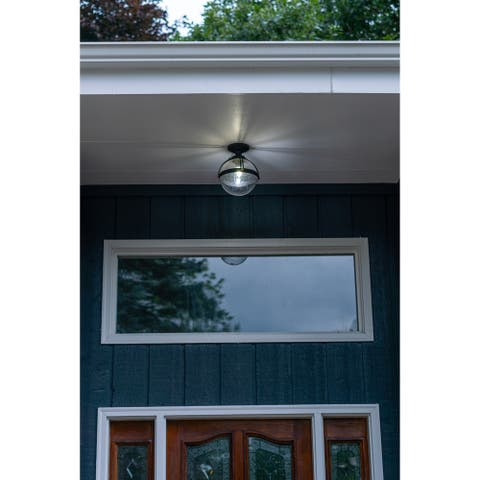 Lorient Bronze Globe Outdoor Flush Mount Ceiling Light Clear Glass - 9.75-in W x 11.75-in H x 9.75-in D
