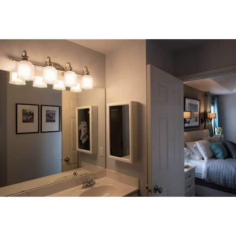 Dayton 4 Light Satin Nickel Industrial Bathroom Vanity Fixture - 30.5-in W x 10.25-in H x 7.25-in D