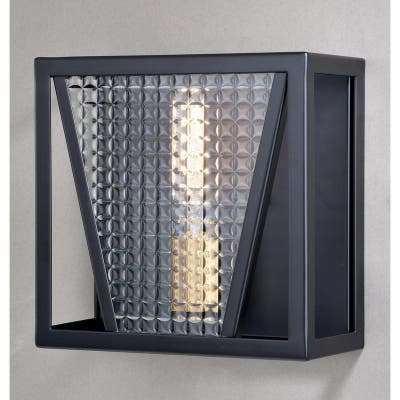 Oslo 1 Light Black Gold Geometric Flush Wall Sconce Clear Glass - 9.25-in W x 9-in H x 4.5-in D