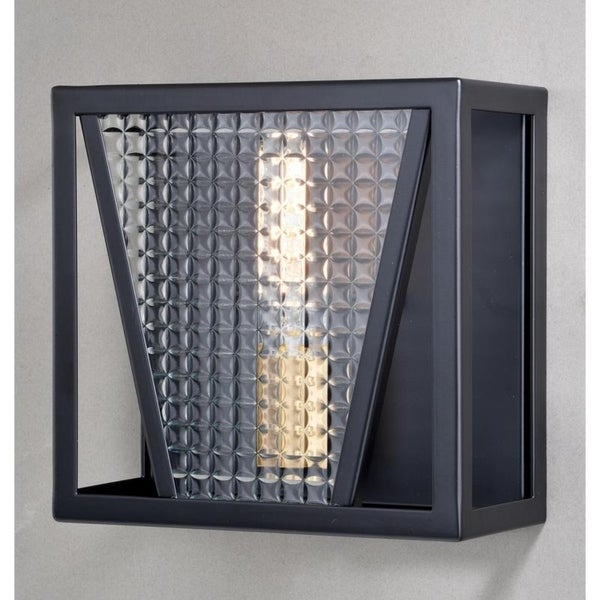 Oslo 1 Light Black Gold Geometric Flush Wall Sconce Clear Glass - 9.25-in W x 9-in H x 4.5-in D. Opens flyout.