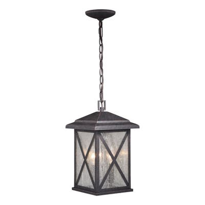 Maxwell 3 Light Bronze Outdoor Geometric Lantern Pendant Clear Glass - 9-in W x 15-in H x 9-in D