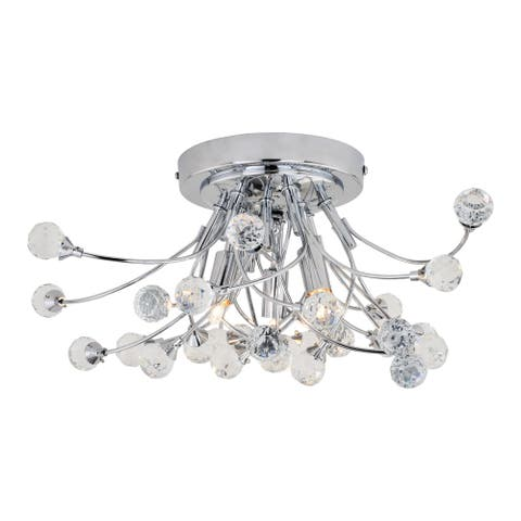 Astrid 17-in W Crystal and Chrome Flush Mount Ceiling Light Fixture - 17-in W x 8-in H x 17-in D