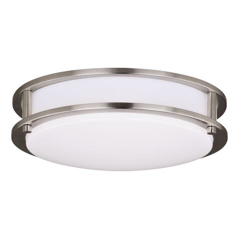 Horizon 12-in W LED Satin Nickel Flush Mount Ceiling Light Fixture White Shade - 12-in W x 3.5-in H x 12-in D