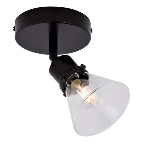 Fulton 1 Light LED Bronze Adjustable Ceiling Spot Light Clear Glass - 5-in W x 7.25-in H x 5-in D