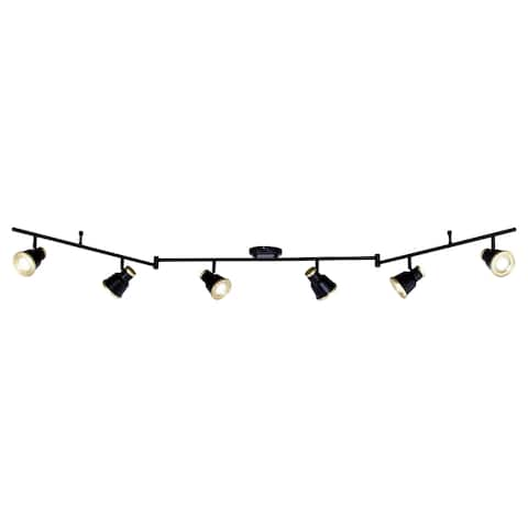 Fairhaven 6 Light LED Black Urban Loft Swing Arm Ceiling Spot Light - 82-in W x 8-in H x 5-in D